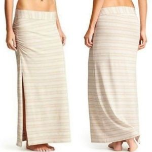 Athleta Serafina Beige and White Stripe Maxi Skirt